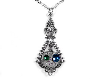 Steampunk Jewelry Necklace Vintage Ruby Watch Silver Filigree EMERALD Blue Crystals Mothers Mom Anniversary - Jewelry by Steampunk Boutique