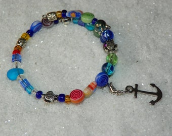 Beach Bracelet, Anchor Charm, Sea Beach Inspired Jewelry, Memory Wire Bracelet, Glass Beads, Sea Turtles, Summertime Jewelry Friendship Gift