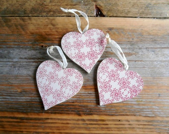 3 x Wooden Heart Ornament for hanging on tree or anywhere