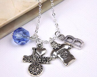 Personalized Soccer Necklace with Your Initial and Birthstone
