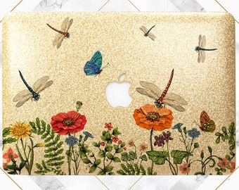 Macbook case dragonfly Gold glitter case Dragonfly case Wildflowers case Macbook glitter case Macbook gold case Macbook air case Macbook