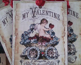 vintage-inspired my valentine tags set of 4 valentine's day cupid i love you