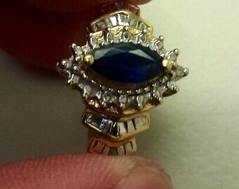 10K Yellow Gold Ring With Blue Sapphire, Size 7