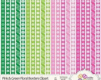 Pink & Green Floral Borders Clipart, Digital border Clip art, digital Clipart, instant download, Commercial Use