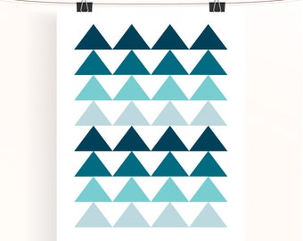 teal ombre triangles geometric print - abstract home decor - turquoise home wall art - aqua nursery print - triangle poster
