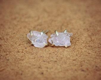 Raw Rose Quartz Stud Earrings Sterling Silver Pink Rough Stone Post Crystal Earrings