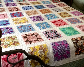 Price Reduced - Vintage Stars Twin Quilt - sale