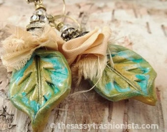 Turquoise and Light Gold Sari Silk Clay Earrings