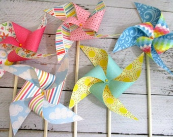 Birthday Decorations Party Favors Birthday Favor Table Centerpiece Party Decoration Photo Prop Rainbow Party Paper Pinwheels Birthday Favors