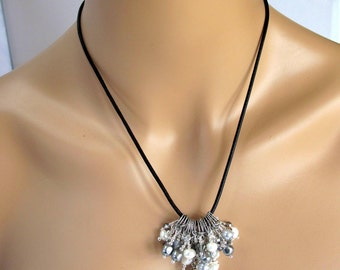 Leather, labradorite, Swarovski crystal, silver and pearl necklace