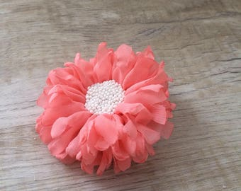 Pigtail Chiffon flower on elastic holder, Ponytail holder, hair tie set, elastic hair ties, hair jewelry, flower hair accessize