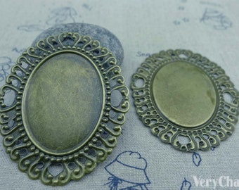 10 pcs of Antique Bronze Filigree Flower Embellishments 49x60mm A3520