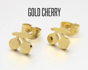 Gold Cherry Stud Earrings, Cherry Earrings, vJewelry, Cherry Studs, Cherry Ear Posts, Cherry Jewelry, Fruit Earrings, Fruit Jewelry
