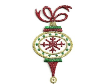 Christmas - Ornament - Embroidered In Metallics - Iron On Applique Patch (75A)
