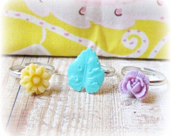Girl's Ring Set Flower - Pastel Children Mint Green Yellow Cream - Lilac Purple Party Favour Botanical Floral - Jewellery Jewelry Gift