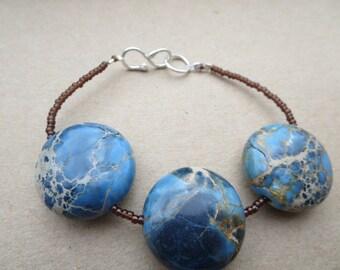 Jasper Bracelet, Handmade Designer bracelet,Jasper Marbled Bracelet, Gemstone Blue Bracelet, Marbled Jasper Gemstone Bracelet, U.K.