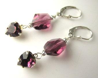 Swarovski Purple Amethyst Cosmic Crystal and Heart Sterling Silver Earrings