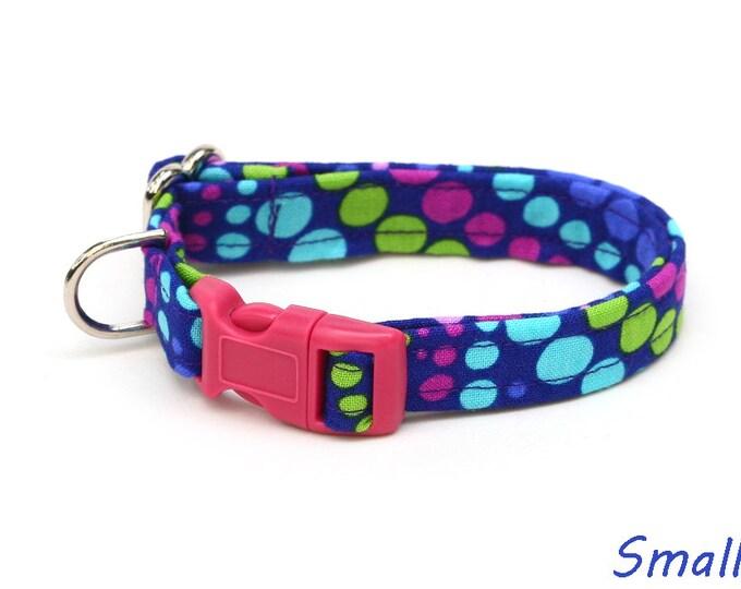 Purple Dog Collar - Grape Soda Polka Dots - Mini Small Medium Large XL Dog Collar