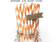 25 Orange Paper Straws, Orange Straws,Striped Straws Cake Pop Sticks Party Supplies Straws, Vintage Wedding, Rustic Baby Shower, Made in USA
