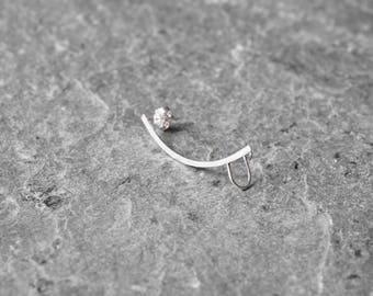 Ear cuff, sterling silver ear climber, ear pin, minimalist ear cuff, modern earring