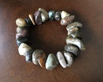 Chunky genuine himalayan river stone bracelet, stone stretch bracelet, natural river rock bracelet, boho style bracelets