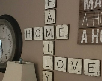 Large Letter Tiles for the wall . Home Decor . Gallery Wall Decor . Rustic Home Decor . Wood Signs