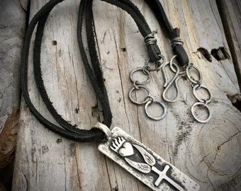 Sterling Silver and Leather Protect Necklace Handmade Wild Prairie Silver Jewelry Artist Joy Kruse