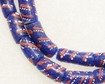 African Blue Glass Beads, 10 Krobo Beads ,Ethnic Beads (B72)