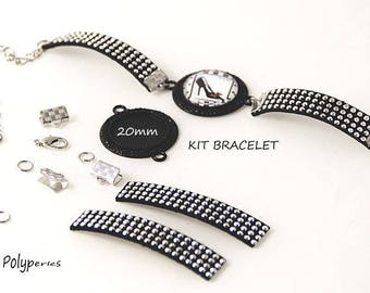 1 KIT TUTORIAL SUPPORT BRACELET-BLACK SILVER RHINESTONE 20MM CABOCHON