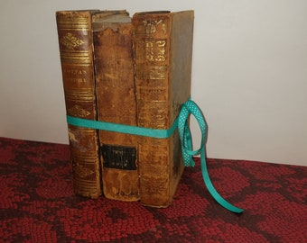 Lot of 3 Antique Leather Books early 1800s - Decorative Lot for Home or Centerpiece
