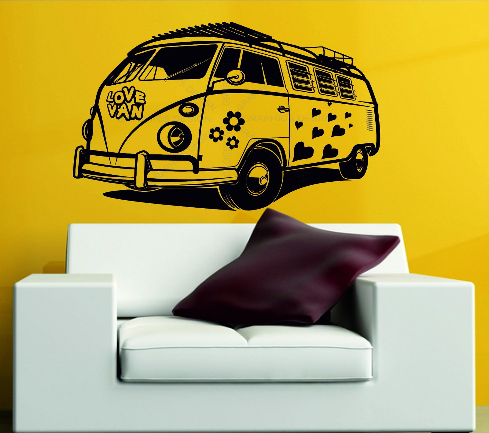 Volkswagen Camper Love Van Hearts Flower VW Wall Art Stickers Decal ...