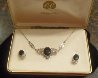 Vintage Signed Sterling Silver Black Jewel Necklace Earring Set