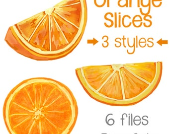 Orange Slices Art - Original art download 6 files, orange slice printable, orange slice clip art