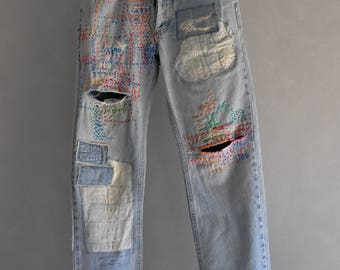 Hand made Patched Denim embowered slime Jeans / Reworked patched painted Vintage Jeans boyfriend jeans 90s 80s clothing