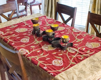 Velvet and silk embroidered Table cover