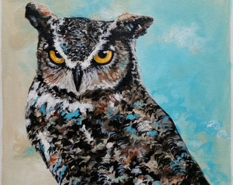 Original Modern Acrylic Painting of Horned Owl on a Canvas Sheet. 9x9 inch. Blue. Free shipping