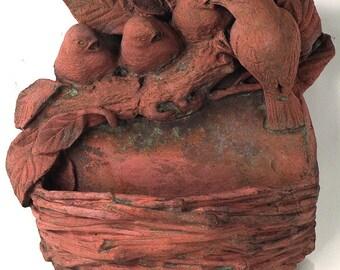 Decorative Terracotta Garden Ornament Bird Feeder - Ideal for the Garden and the Birds