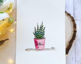 Succulent pen and ink 2