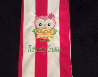 Pink Owl Beach Towel/pink beach towel/cabana beach towel/girls beach towel/personalized beach towel/girls birthday/beach towel