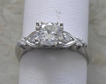 Vintage Diamond Engagement Ring Platinum Circa 1950