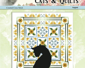 Cats And Quilts August Original Counted Cross Stitch Pattern by Pamela Kellogg