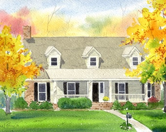 Custom 8x10 Watercolor Home/House Portrait Painting-FREE SHIPPING