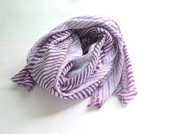 Purple Shibori Scarf - breezy cotton summer scarf - Plum