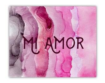 Love Card, Valentine's Card - Mi Amor - My Love - Love Greeting Card - Anniversary, Boyfriend, Girlfriend, Husband, Wife