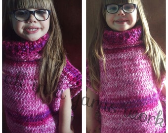 Girls hand knitted childrens poncho