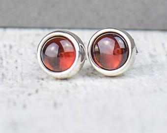 Garnet Studs | January Birthstone Studs | Garnet January Birthstone Earrings | January Birthstone Jewellery | Red Garnet Studs |Alison Moore