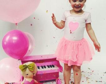 TODDLER LEOTARD - Neon Pink Heart - Pink Girls Leotard