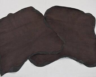 2 Dark Brown Velvet Lamb Leather Skins