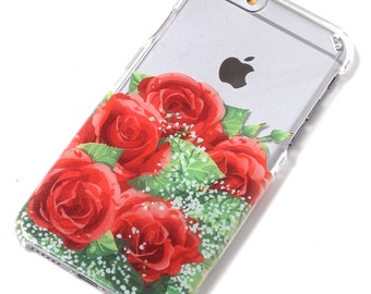 Red Rose Bouquet Flower Floral Transparent Clear Phone Case iPhone 6, 7, SE, 6 Plus, 7 Plus, 6S, 5, 5C, 5S, Galaxy S6, S7, Note 5, Note 7