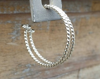 Twisted Rope Sterling Silver Hoops, Silver Hoops, Rope Hoops, Nautical Earrings - ST14